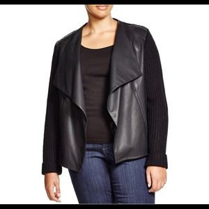 Faux leather open front ribbed knit Cardigan